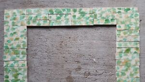 Antique Vintage Fireplace Mantle Hearth Tile Set Green Tan Cream