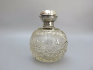 Antique Scent Bottle Victorian 1900s Silver Top With Hallmark