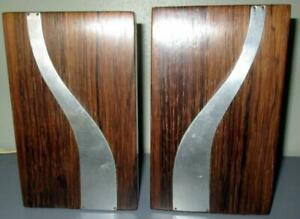 Pair Mid Century Modern Rosewood Bookends With Chrome Accents