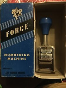 Force Numbering Machine Stamp Stamping Box 6 Wheels Model 150 In Box