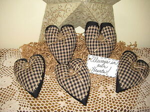 5 Black Tan Check Fabric Hearts Bowl Fillers Farmhouse Country Kitchen Decor
