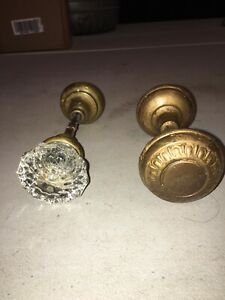Two Sets Of Antique Door Knobs One Set Brass Knobs One Set Brass And Glass