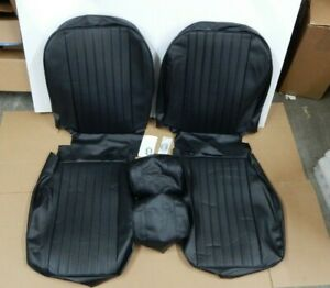 New Front Seat Covers Seat Upholstery Mgb 1973 76 Black Vinyl Headrest Covers