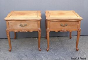 Pair Vintage French Provincial Brown End Tables Nightstands W Cabriolet Legs