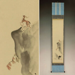 Deer Japanese Painting Hanging Scroll Antique Old Vintage Japan Original 444i
