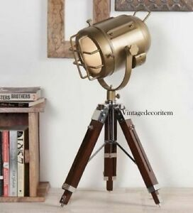 Antique Finish Vintage Spot Search Light Wooden Tripod Table Lamp
