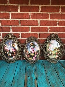 Vntg Oval Convex Glass Floral Picture Ornate Brass Frames 13 X 10 Lot Of 3