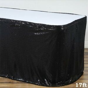 17 Ft Black Sequin Table Skirt Wedding Party Catering Trade Show Banquet