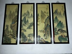 Vintage Chinese Export Set Of 4 Framed Hand Painted Paintings On Silk Paper