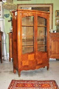 French Antique Inlaid Rosewood Louis Xv Display Cabinet Living Room Furniture