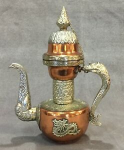 Antique Tibet Nepal Dragon Chased Silver Over Copper Coffee Pot