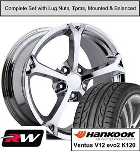 18 19 Chevy Corvette C6 Grand Sport Wheels And Hankook Tires Chrome Rims Fit C5