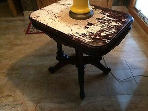 Antique Victorian Table Marble Top Walnut Parlor Style 19th Century Lamp Table