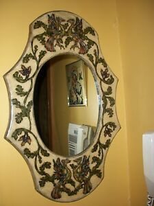 Vintage Hand Painted Crafted Mirror From Greece Etched Wood Designer Greek Art