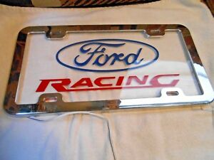 Ford Racing Chrome Lighted License Plate Frame Never Used New