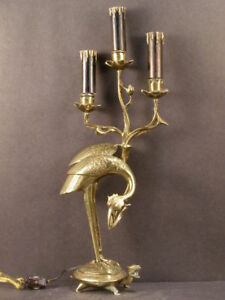 Early 1900 S Bronze Stork Turtle Figure Sculpture Statue Candelabra Lamp Light