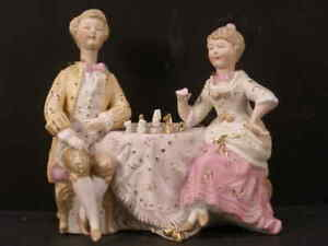 1800s Meissen Dresden German Porcelain Bisque Figure Group Nodder Gold Leaf Gilt