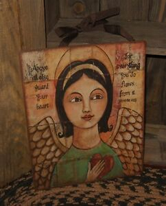Folk Art Angel Wall Sign Wings Heart Primitive French Country Religious Decor