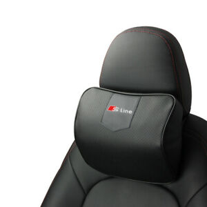 Black Real Leather Car Seat Memory Foam Neck Rest Cushion Pillow For Audi Sline