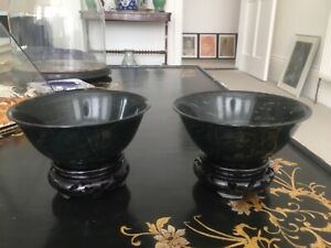 A Pair Of Spinach Jade Bowls With Stands And Original Box