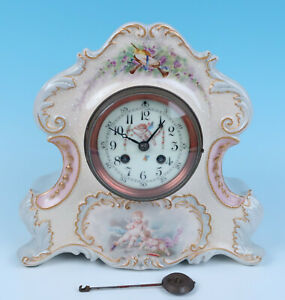 19thc Antique A D Mougin French China Clock Handpainted Cherubs Sevres Style