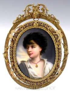 Antique Bronze Frame Enamel Painting Porcelain Plaque Portrait Lady Girl