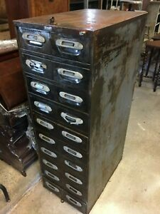 Vintage Wright Line Inc Industrial 20 Drawer Filing Cabinet 1920 s