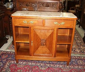 French Antique Oak Art Deco Marble Top Mirrored Sideboard Bar Server Furniture