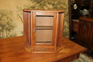 English Arts Crafts Oak Wood Office Medicine Cabinet Small Bathroom Chest