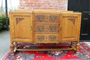 English Antique Oak Art Deco Sideboard Buffet Wine Bar Drink Cabinet Furniture