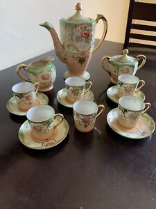 Japanese Coffee Demitasse Set Hand Painted