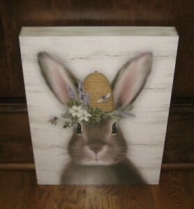 Bunny Rabbit W Bee Hive Picture Primitive French Country Home Farmhouse Decor