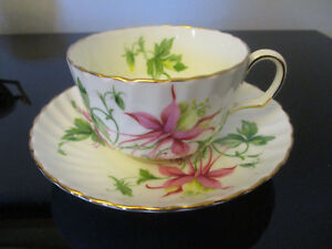 Vintage Adderley English Bone China Fuschia Floral Gold Gilt Tea Cup Saucer C