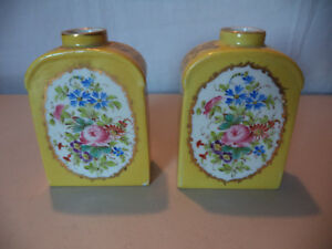 Pair Vintage Old Paris French Porcelain Gold Gilt Dresden Floral Tea Caddy Jars