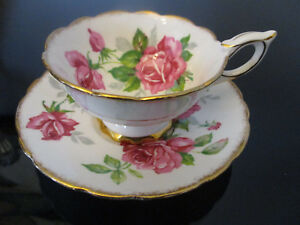 Vintage Royal Stafford Bone China Red Pink Roses Gold Gilt Tea Cup