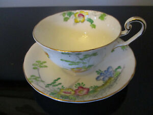 Vintage Victoria Hand Painted Butterfly Flowers Gold Gilt Tea Cup