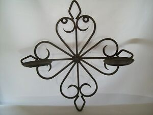 Antique Style Wrought Iron Sconce Double Pillar Candle Holders Wall Hanger