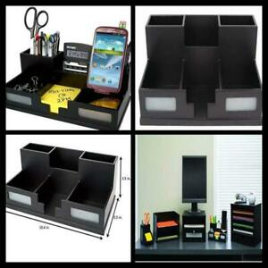 Black Wood Office Table Desk Organizer With Smart Phone Holder Workspace Rack