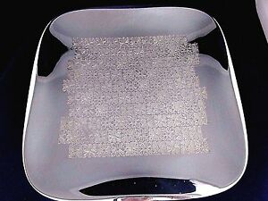 Vintage Wmf Germany E P Brass Silver Plated Engraved Square Tray