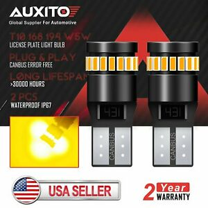 2x Auxito Canbus T10 168 194 Led Car License Map Dome Light Bulb Amber Yellow