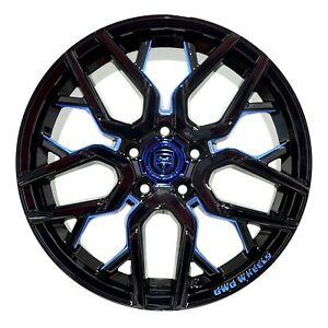 4 Gwg Nigma 18 Inch Stagg Black Blue Mill Rims Fits Ford Shelby Gt 500 2007 2009