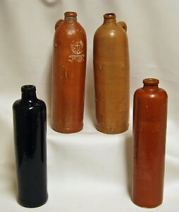 4 Antique 1800 S Jug Bottle Stoneware Pottery Apollinaris Mineral Water