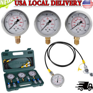 Excavator Hydraulic Pressure Test Kit With Testing Hose Coupling And Gauge