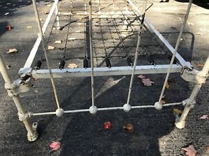 Antique Youth Cast Iron Bed Frame Headboard Rails W Slot Pins Early 1900 S