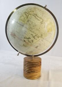 Decorative Globe With Illustrations Wooden Stand A11