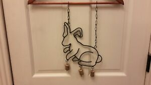 Anitque Folk Art Country Farm House Wind Chime Rabbit Bells