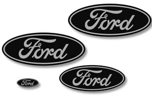 Ford Oval Badge Emblem Logo Overlay Sticker Decal Set For Ford F150 09 14 Gry Bk