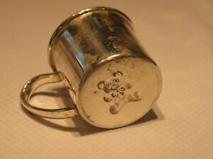 Vintage Lunt Sterling Silver Teddy Bear Baby Childs Cup Engraved Kathleen
