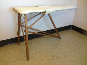Vintage No 48 Wooden Ironing Board With Springs Cloth Foam Pad Intact
