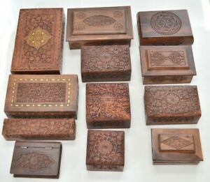 12 Pcs Assort Handmade Carved Wood Boxes F 239